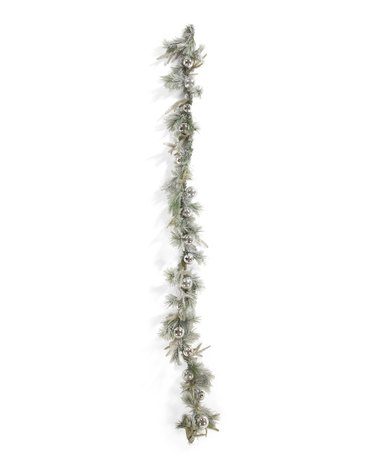 Ornament garland with snow