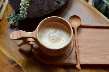 wood mug and spoon