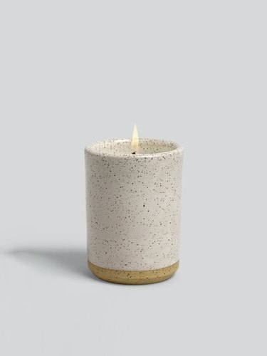 light stoneware candle