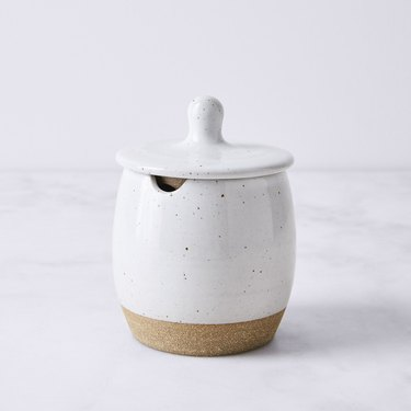 white stoneware sugar pot