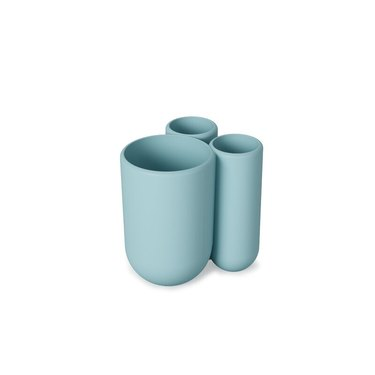 Modern blue toothbrush holder with three compartments