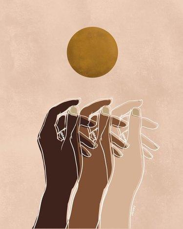 hands and sun art print