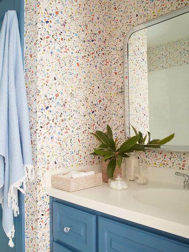 terrazzo-inspired small bathroom wallpaper