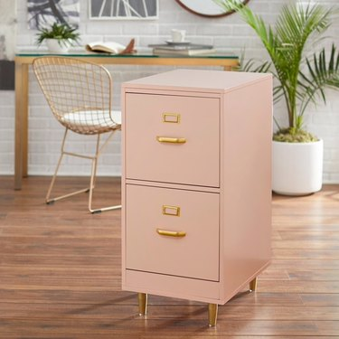 overstock pink 2-drawer filing cabinet with gold fixtures