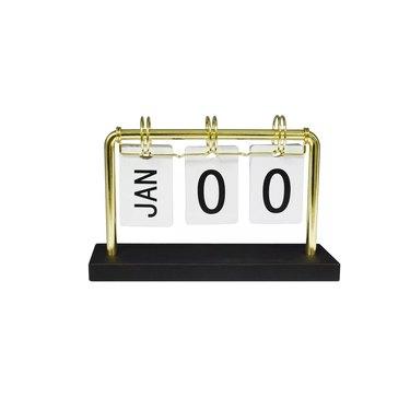 gold desk calendar with black stand