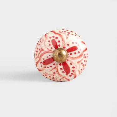 World Market Red Basic Ceramic Floral Knobs