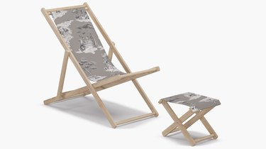 sheilda bridges cabana set that comes with an outdoor lounging chair and stool