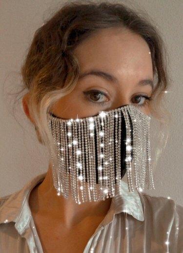 GatoDenim Holiday Rhinestone Face Mask, $25.50