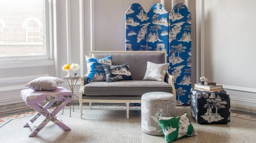 a photo of sheila bridges' throw pillows, ottomans, and room dividers