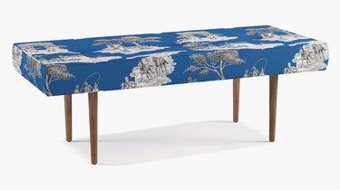 sheila bridges blue bench with patterns