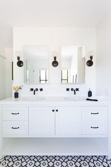 Matte Black Bathroom Faucet white vanity