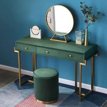 Homary Green Velvet Upholstered Vanity Table with green velvet stool