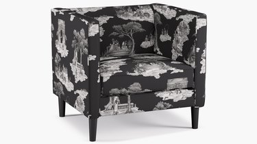 sheila bridges tuxedo chair in black with toile patterns