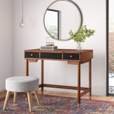 AllModern Boleynwood Vanity with Mirror and grey upholstered stool