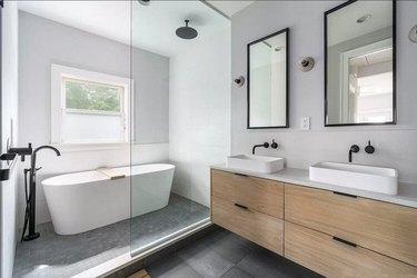 Matte Black Bathroom Faucet angled spouts