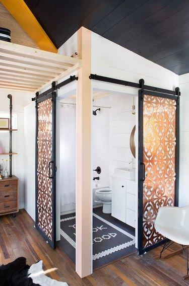 Decorative copper small bathroom doors with farmhouse bathroom