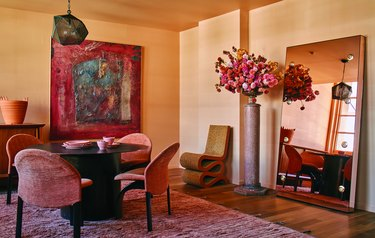 terracotta-colored dining room