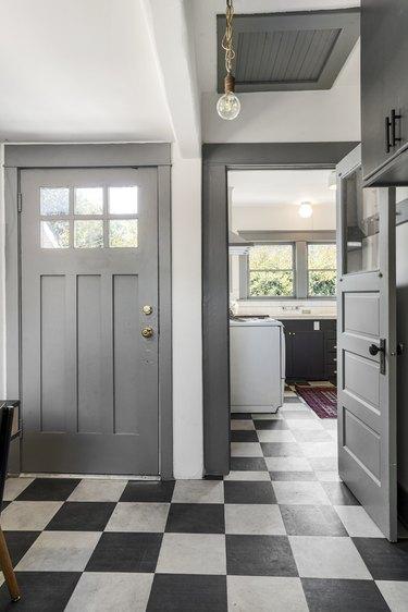 Black and white checkerboard vinyl flooring