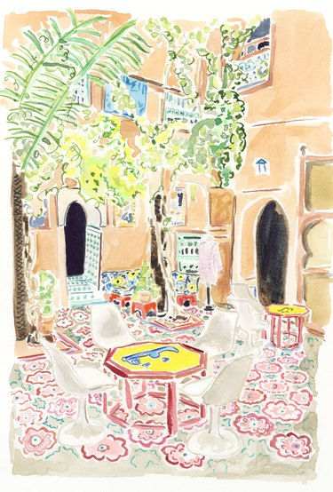 illustration of a courtyard with trees