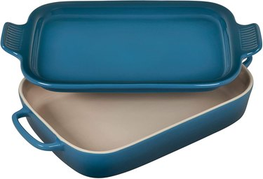 blue casserole dish with lid