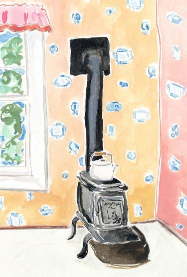 illustration of vintage stove on wallpapered walls