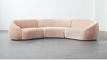 light pink sectional sofa