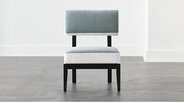 gray and white velvet chair