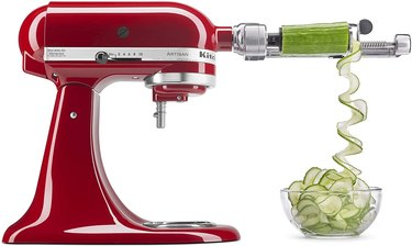 red stand mixer with attachment