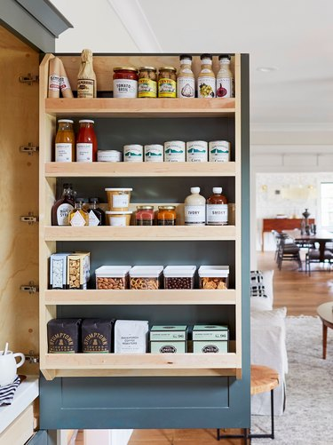 How to Organize a Pantry, pantry with wood shelves