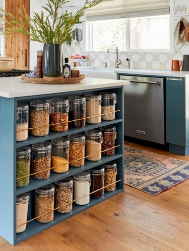 How to Organize a Pantry with pantry shelves on island