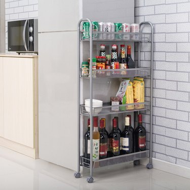 How to Organize a Pantry with rolling metal cart