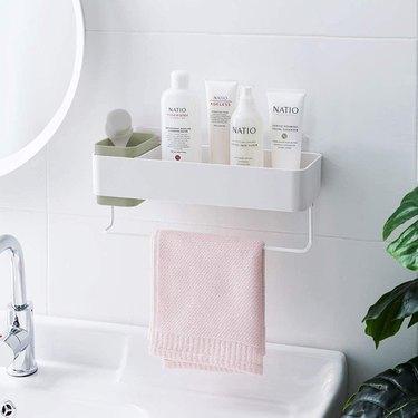 wall mounted bathroom shelf organizer with towel bar
