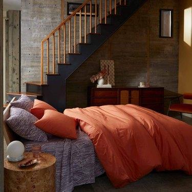 orange and purple bedding