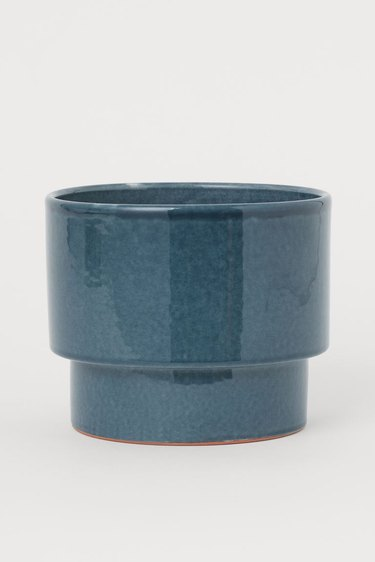 blue ceramic plant pot