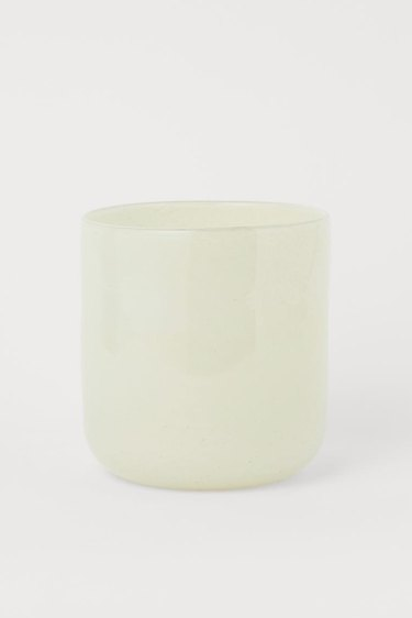 white glass plant pot