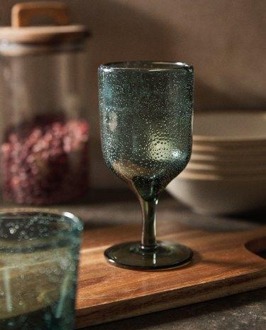 bubble wine glass in dark green color