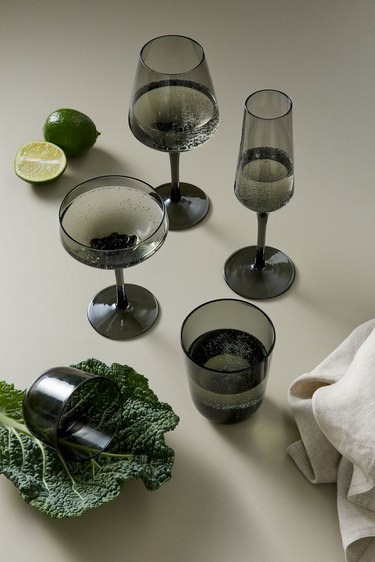 tinted glassware on table