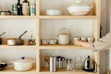 The kitchen shelves