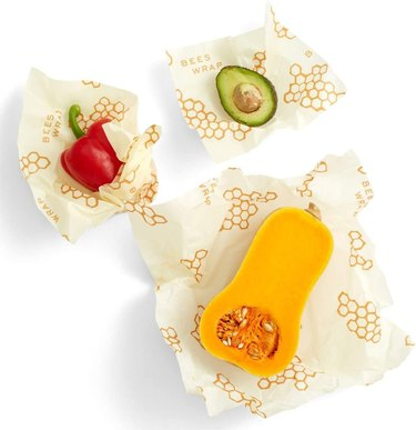 Bee's Wrap 3-Pack Reusable Beeswax Food Wraps with vegetables