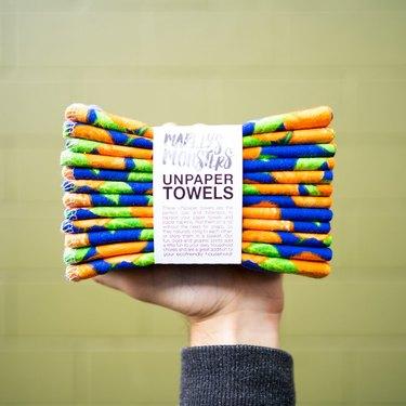 Marley's Monsters Unpaper Towels in orange pattern