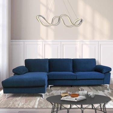 Ivy Bronx Bueno Velvet Left Hand Facing Modular Sofa & Chaise