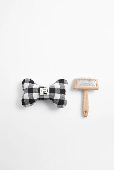 dog toy and brush