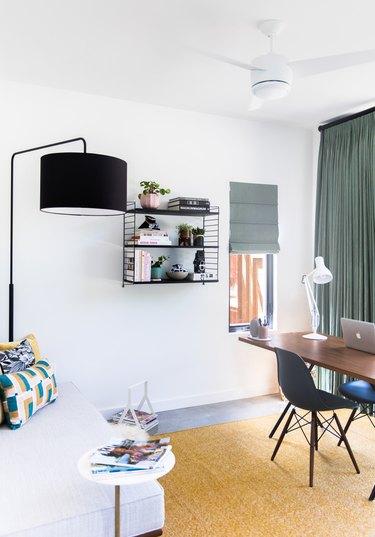 modern black floor lamp in modern white office