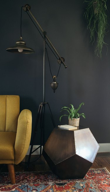 industrial task light floor lamp in black midcentury office