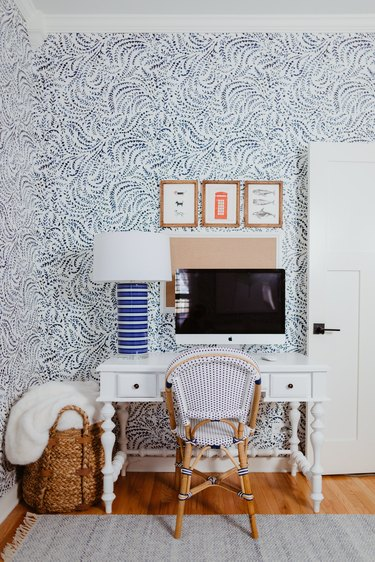 blue and white home office with nautical, floral wallpaper