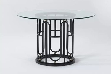 black dining table with ornate design