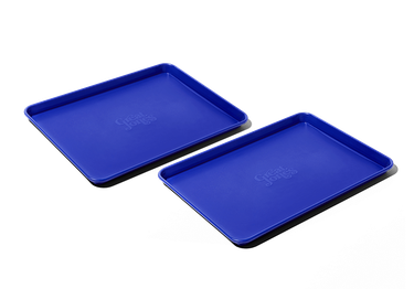 two small blue baking sheets