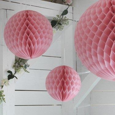 ikea inbjuden Set of 3 pink paper Hanging Ornaments