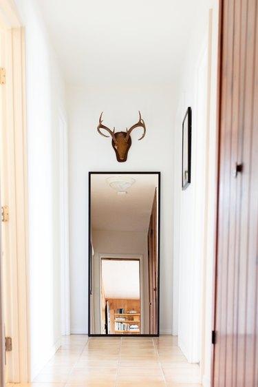 minimalist hallway white walls