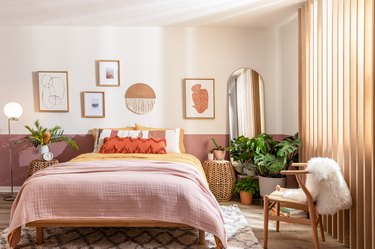 Pink colored bedroom